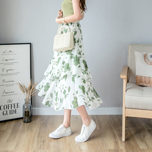 2019 Summer New Woman Skirt Mid-Calf Floral Print Ladies Skirts Casual Ruffle Femme Bottom Streetwear Female A-line Beach Skirt ruffle trim asymmetric floral skirt
