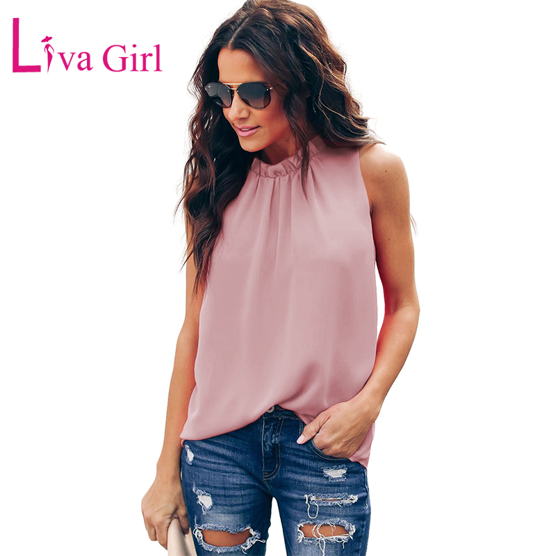 LIVA GIRL Summer Casual Ruffle Trim Neckline   Tank     Top   for Woman Chic Solid O-Neck Sleeveless Ruched   Tops   For Women 2019 S-XXL