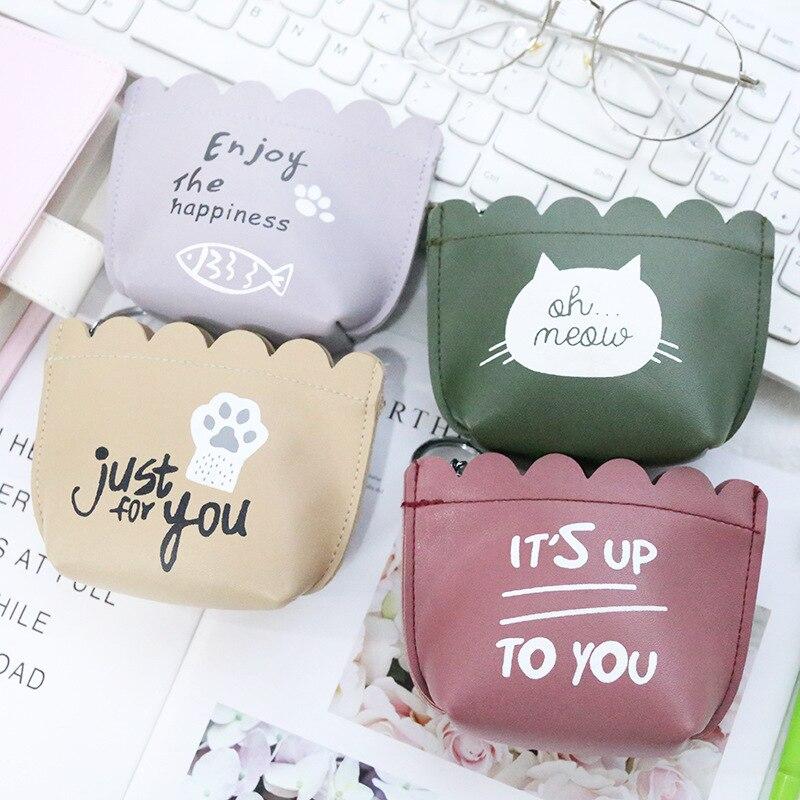 Korean Cartoon Cute Cat Mini Coin Bag Fashion Pu Women Girl Coin Holder Wallet Key Money Card Storage Small Case Girl Gift