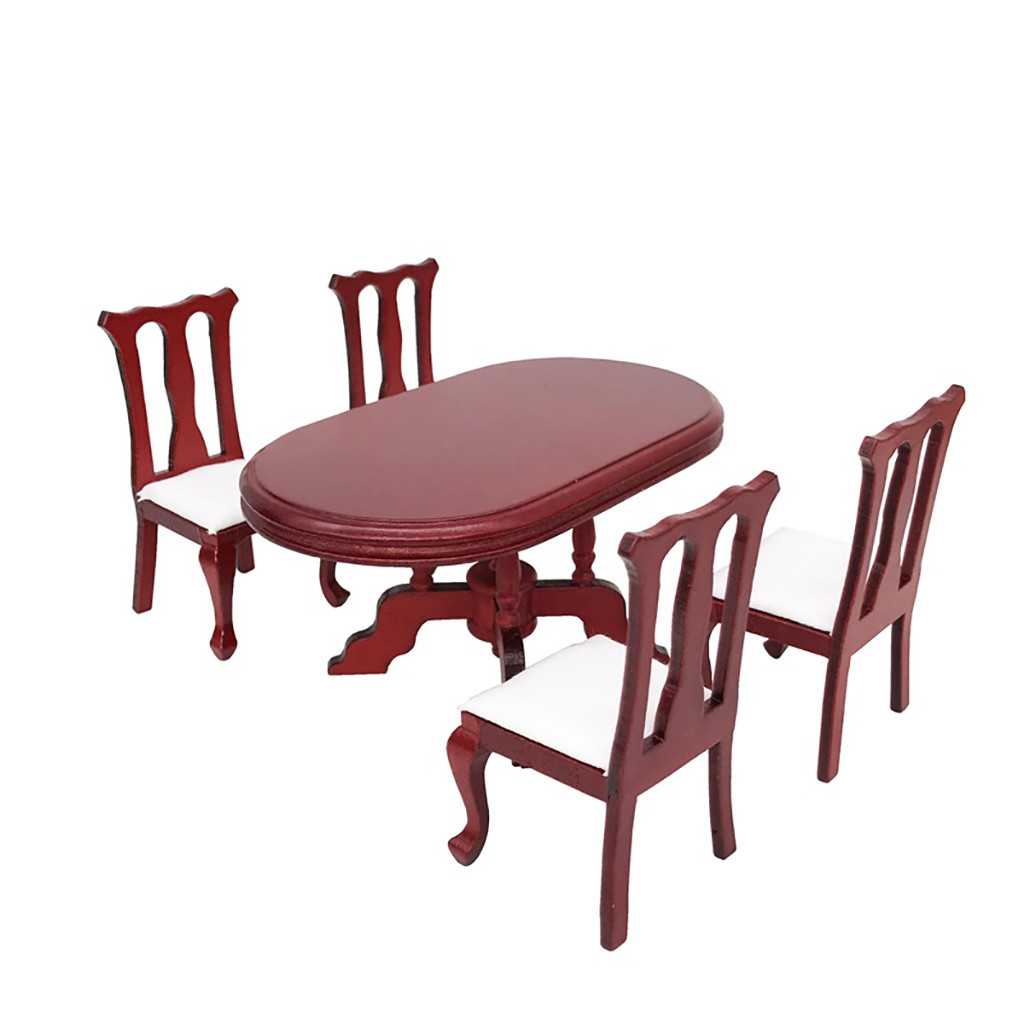 Kids House Miniature Furniture 1:12 Dollhouse Miniature Furniture Red Wooden Color Dining Table Chair Set Accessory L425