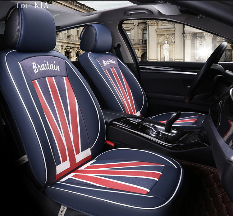 OUZHI design flag pattern pu leather car seat cover for  kia rio sportage 2017 kia ceed cerato front rear full universal car for kia rio cerato sportage k2 k3 k5 new brand luxury soft pu leather car seat cover front