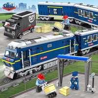 Kazi NEWEST 98220 City Series models Cargo Set Building Train track Blocks Bricks Train Educational Toys For Children legoings