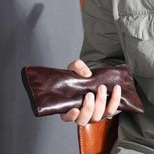 Подлинная кожаный бумажник для Для мужчин корова натуральной коровьей джинсовые клатч молодой мужчина Handmad Ruched человек кошельки билета дизайнер новый