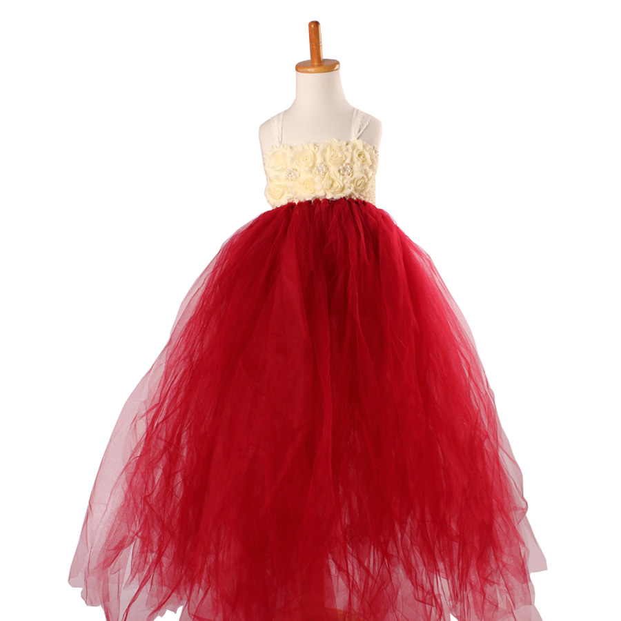 Handmade Shabby Flower Girl Tutu Dress Princess Kids Wedding Tulle Dress for Girls Birthday Party Pageant Ball Gowns Clothes (7)