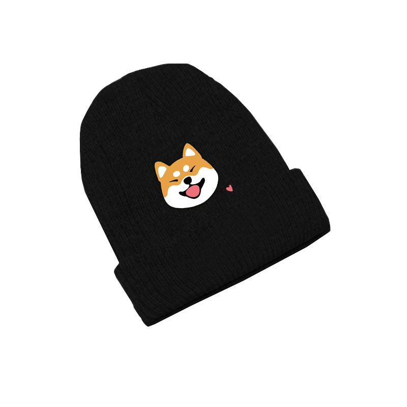 Shiba Inu Dog Doge Cute   Skullies   Caps Knitted   Beanies   Winter Warm Hats Men Women Boys Girls Gift Elastic