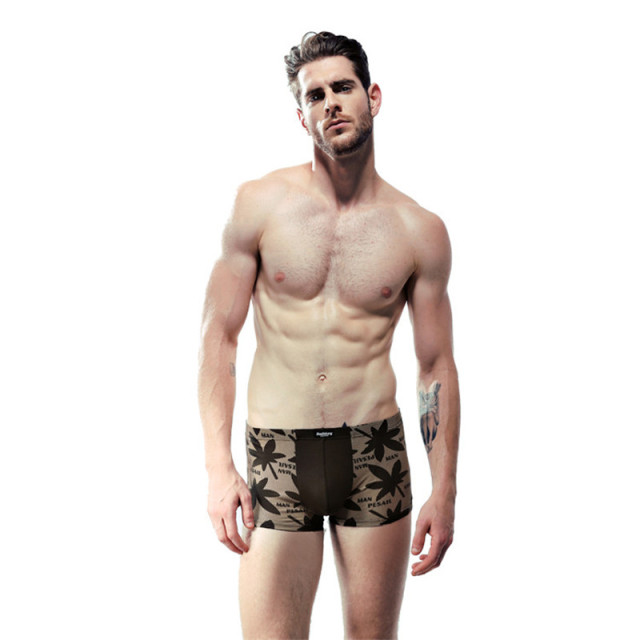 2017 Hot sale men's shorts 4 pcs 1 set male flower leaf pattern modal cotton boxer gift box 100% new vogue fashion