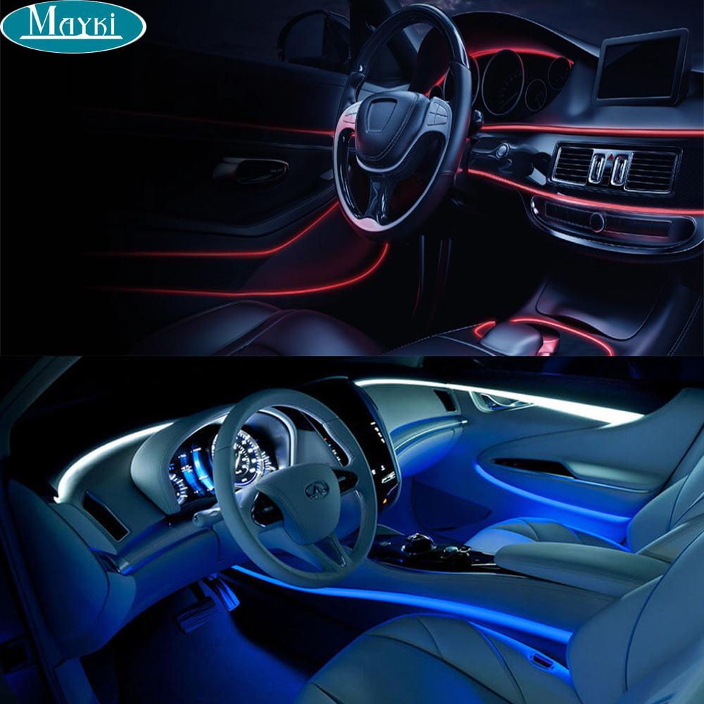 Maykit Mini Fiber Optic Illuminator 1.5W RGB Color Changing And 1m-5m 3.0mm Side Glow Fiber For Car Perimeter Lighting side glow fiber optic lights 2w dc 12v car home decorative light illuminator constant current power supply 24 key remote rgb