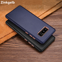 For Samsung Galaxy Note 8 Case Cover Luxury Genuine Leather Hard Thin Shockproof Armor Phone Case