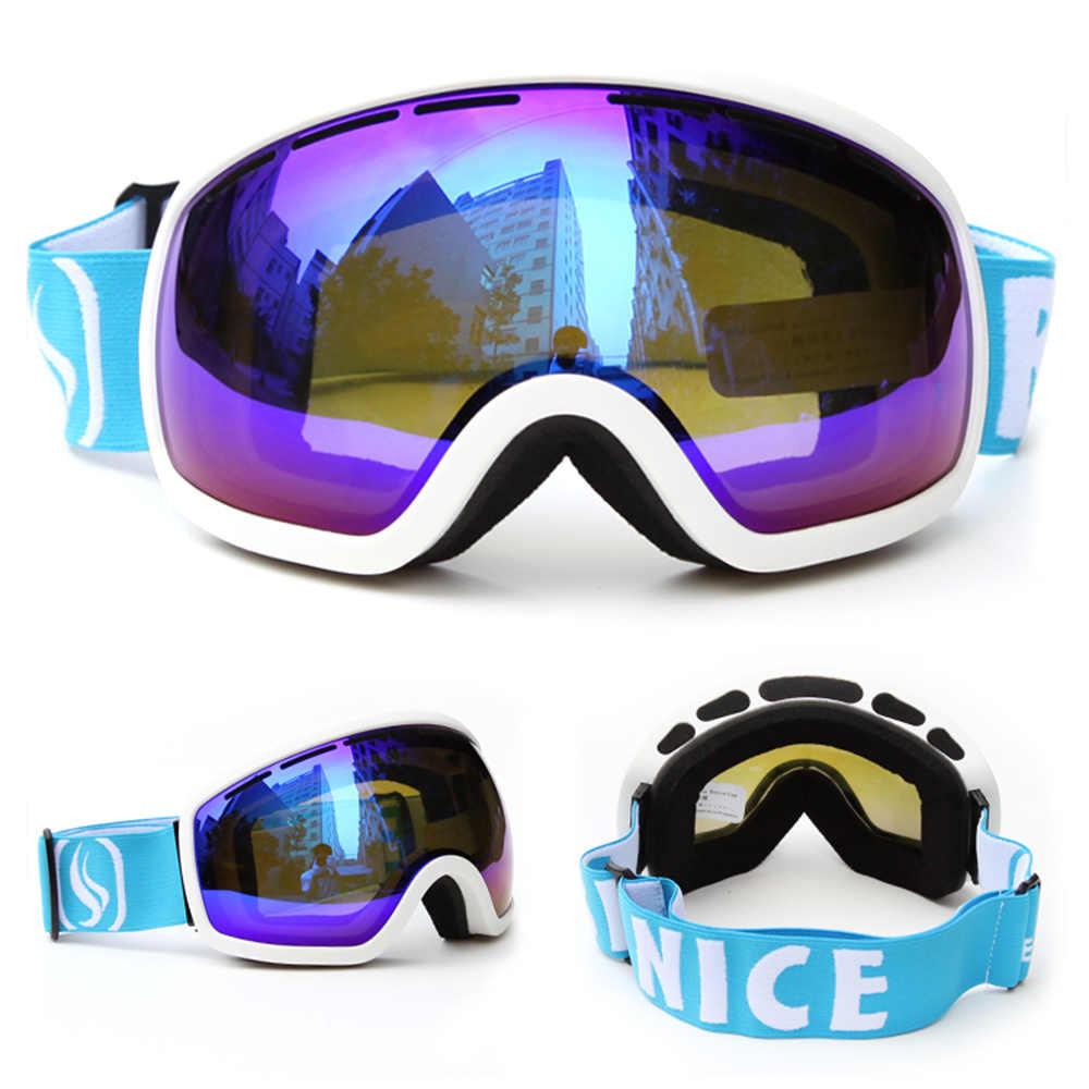BENICE Ski Snowboarding Kacamata Skating Perlindungan UV anti-kabut Lensa PC Bulat Anti-slip Tali Lebar Helm Kompatibel
