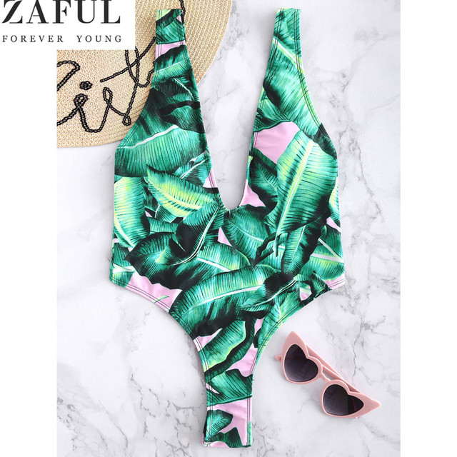 19ca54349ee55 ZAFUL Palm Backless High Cut Women One Piece Swimsuit Sexy Plunging Neck  Swimwear Leaf Print Bathing Suit Monokinis Bodysuits