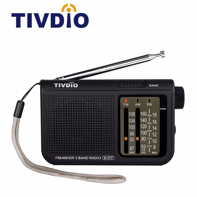 TIVDIO V-117 FM/AM/SW 3 Band Radio Portable Battery Powered Emergency Radios Mini Broadcast Receiver For The Elder F9207A