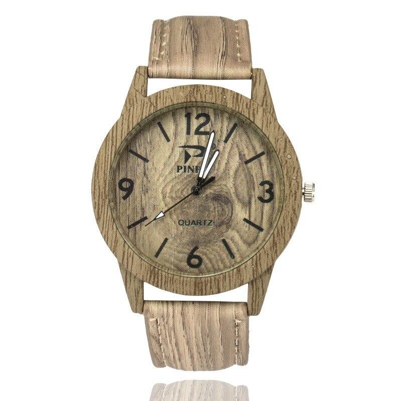 Модные Woodgrain часы цифровые весы Woodgrain часы Ретро Повседневное Для мужчин кварцевые часы