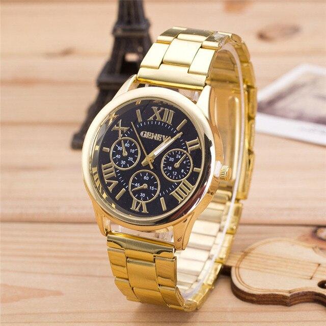 fe2d9793e31 Moda Feminina Assistir Algarismos Romanos Feminino Clássico Rodada  Mostrador Em Ouro de Aço Inoxidável Relógio de