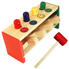 Baby Wooden Hammer Toys +Stick Hammer Box Toddlers Educational Puzzle Toys for Children Wooden Game Hammering Bench Kids Toys(China)