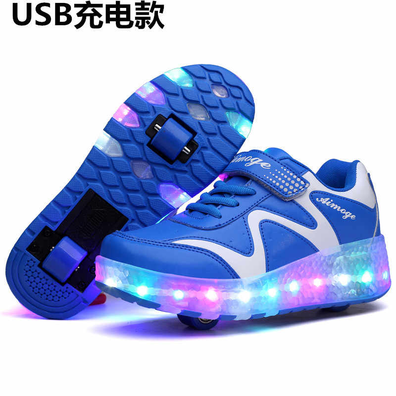 Heelys Fashion Boys USB Children Led Light Shoes Kids Sneakers with TWO Wheels Kids Roller Skate Glowing for Girls Roller Shoes