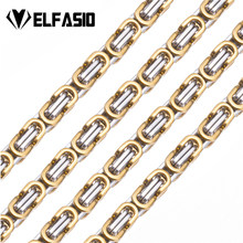 4bfae2a0cd3f Elfasio hombres collar de cadena de acero inoxidable para hombres mujeres  Oro Negro Plata Color joyería bizantina longitud perso.