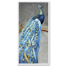 (No Framed)Factory wholesale Blue peacock series poster Custom Canvas Print On Printing Wall Pictures Home Decoration