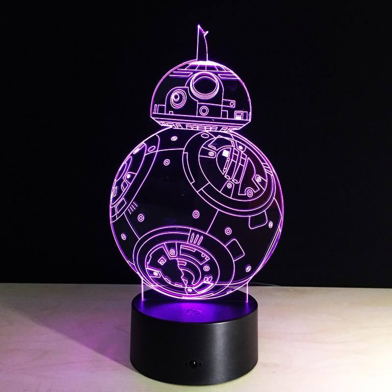 Cadeaux Créatifs Star Wars Lampe 3D Night Light Robot USB Led Table - Veilleuses - Photo 5