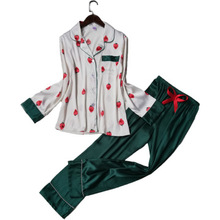 Daeyard Women's Pajamas Silk Strawberry Print Pajama Set Girl's Cute Pijama Cotrast Color Shirt And Pants 2Pcs Pyjamas Sleepwear недорого