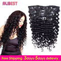 Deep Wave Human Hair Clip in Curly Hair Extensions Virgin Peruvian Remy Clip in Hair Extension Natural Black 70g-120g 7pcs/10pcs