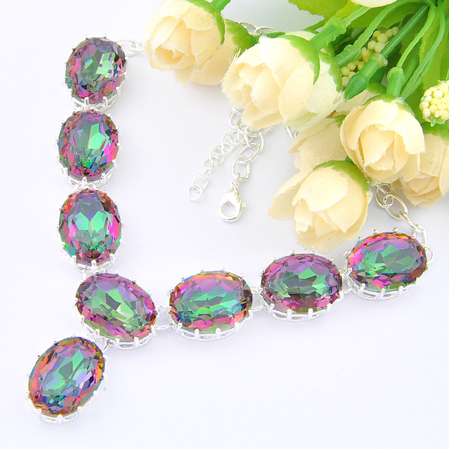New Arrival --High Quality holiday Gift  mystic Synthetic topaz	necklaces n0562 for women wedding jewelry necklace