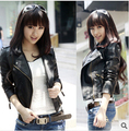 Autumn Women jacket pu fashion new brand plus size black leather jacket European style oblique zipper motorcycle PU jacket #C5