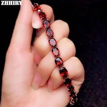 ZHHIRY настоящий натуральный красный гранат 925 пробы Серебряный браслет для женщин подлинный драгоценный камень браслеты ювелирные украшения