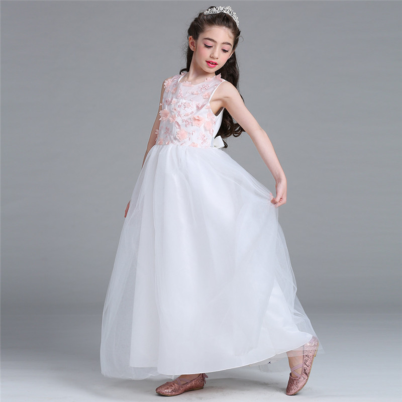 New Flower Girl Long Dress Summer Clothes Girl Wedding Veil Dresses Kids's Party Wear Costume Pageant Children Vestido Clothing