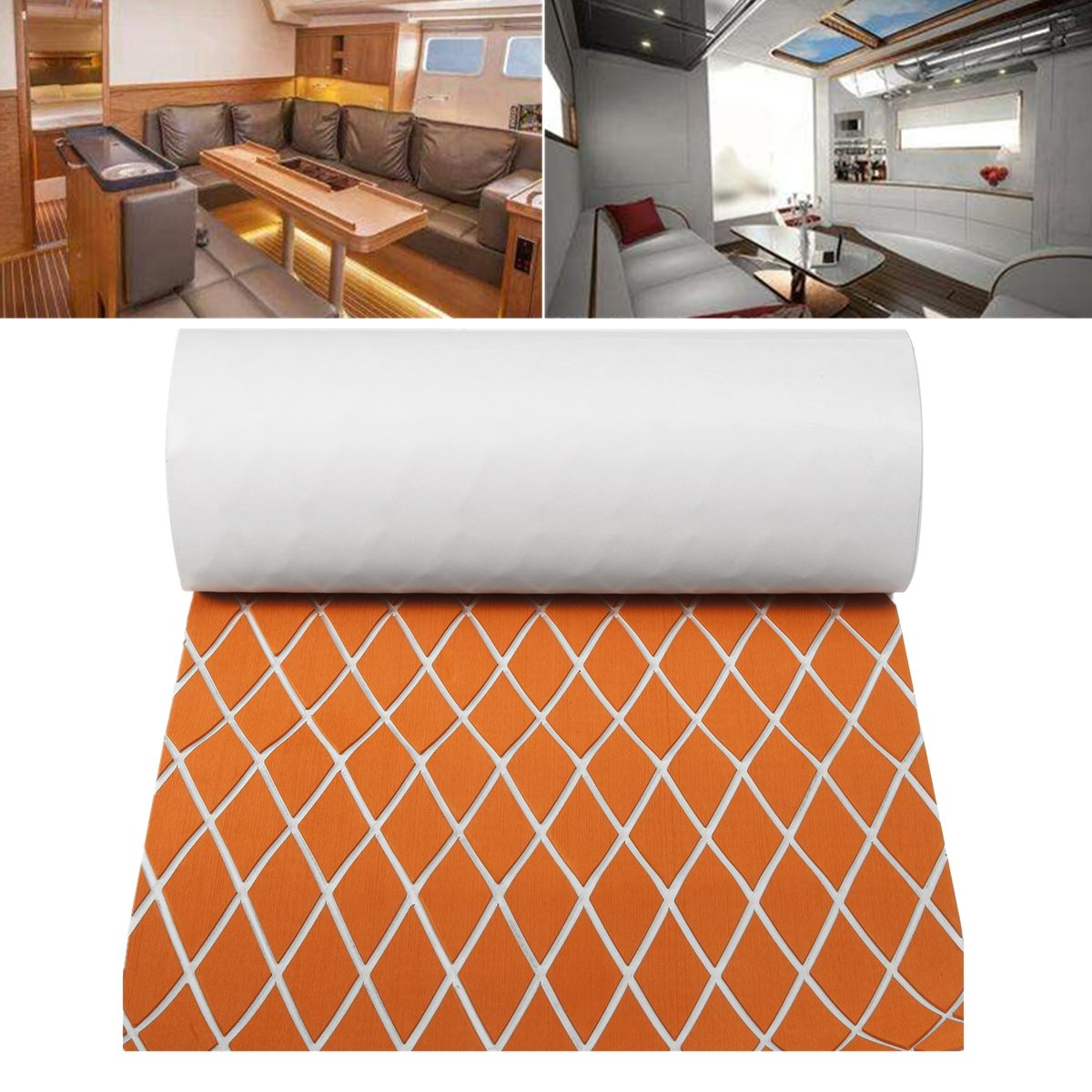 60CMx190CM EVA Foam Marine Teak Sheet Flooring RV Touring Car Mat Synthetic Boat  Orange + White Decking Yacht Pad single sided blue ccs foam pad by presta