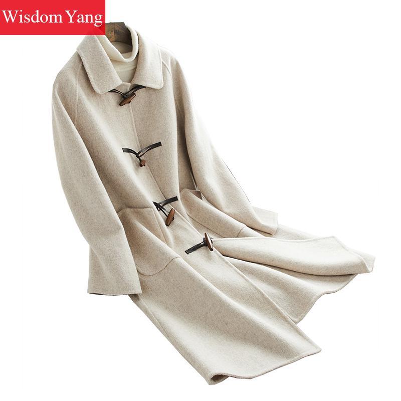 Survêtement Manteaux Automne Mouton Beige Manteau Corne Corée Laine De Femme Coat Occasionnel Long Femelle Élégant Bouton Femmes Hiver naxYWwq11g
