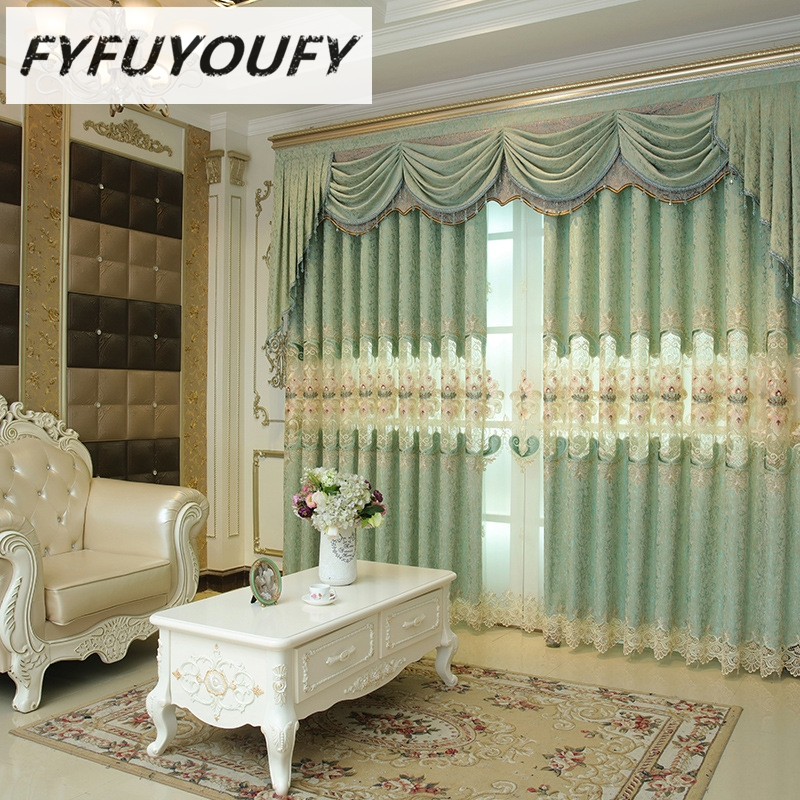 FYFUYOUFY European Fresh Curtain For Living Room Floral Embroidered Tulle  Curtains For Bedroom Blackout Curtains In