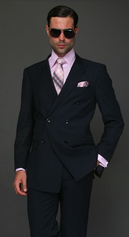 New Custom Made Dark Navy Blue Man Suit Double Breasted Groom ...