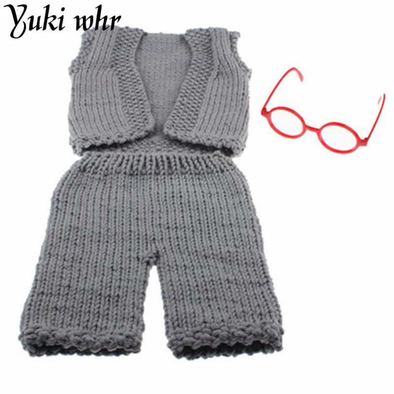 Newborn baby photography props infant knit crochet costume blue striped soft outfits elf button beanie+pants baby shower gift