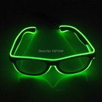 Звуковая активация Rave костюм партии DJ яркий Солнцезащитные очки для женщин Дешевые 50 шт. EL Провода светящиеся партии украшения