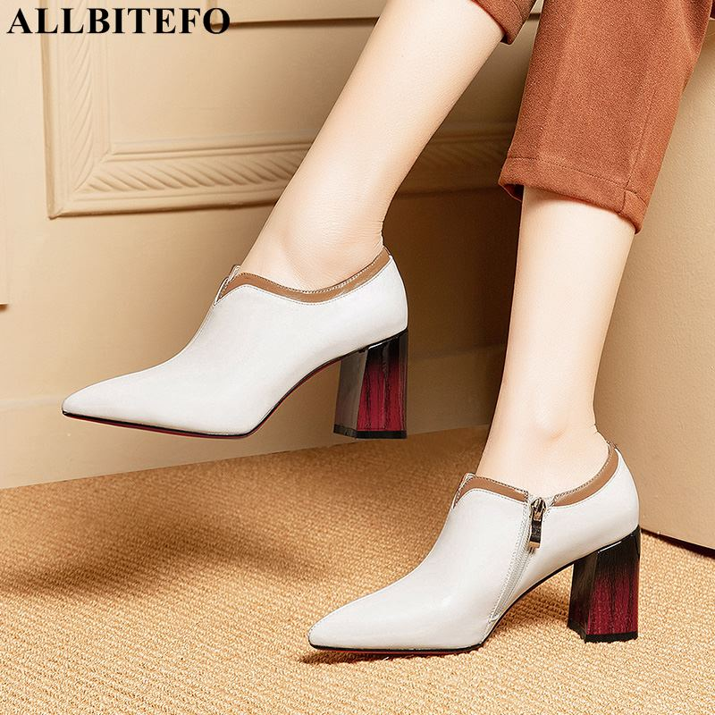 ALLBITEFO brand natural genuine leather women high heels pointed toe girls spring fashion sexy high heel