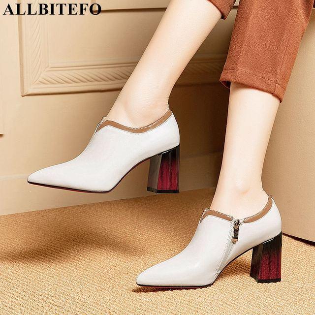 ALLBITEFO 브랜드 천연 정품 가죽 여성 하이힐 지적 발가락 여자 봄 패션 섹시한 하이힐 신발 힐 여성 신발