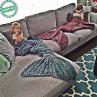 Home Bedding Blanket Wool Knitting Fish Style Mermaid Sea Maid Tail Sofa Warm Wearable Sleep Textile