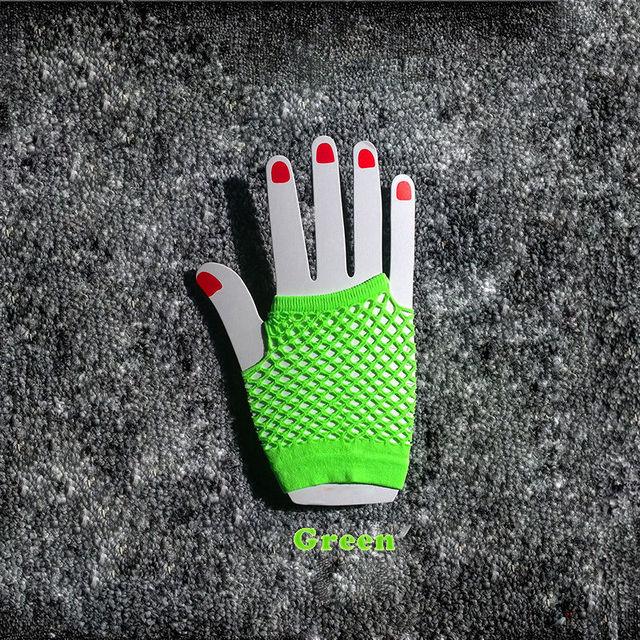 2015 High Quality Neon Short Fishnet Gloves Fish Net Black Fancy  Party Dance Club Nylon+Spandex Mesh Short Gloves 4