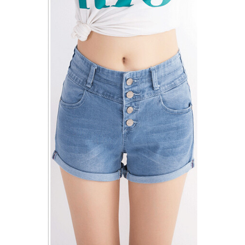 588# Summer Women Ladies Elastic High Waist Sexy Hot Women's Denim Shorts Female Casual Jean Shorts Size 26~32 Free Shipping women sexy club denim shorts sexy appliques rose style cross embroidery high waist casual denim newest
