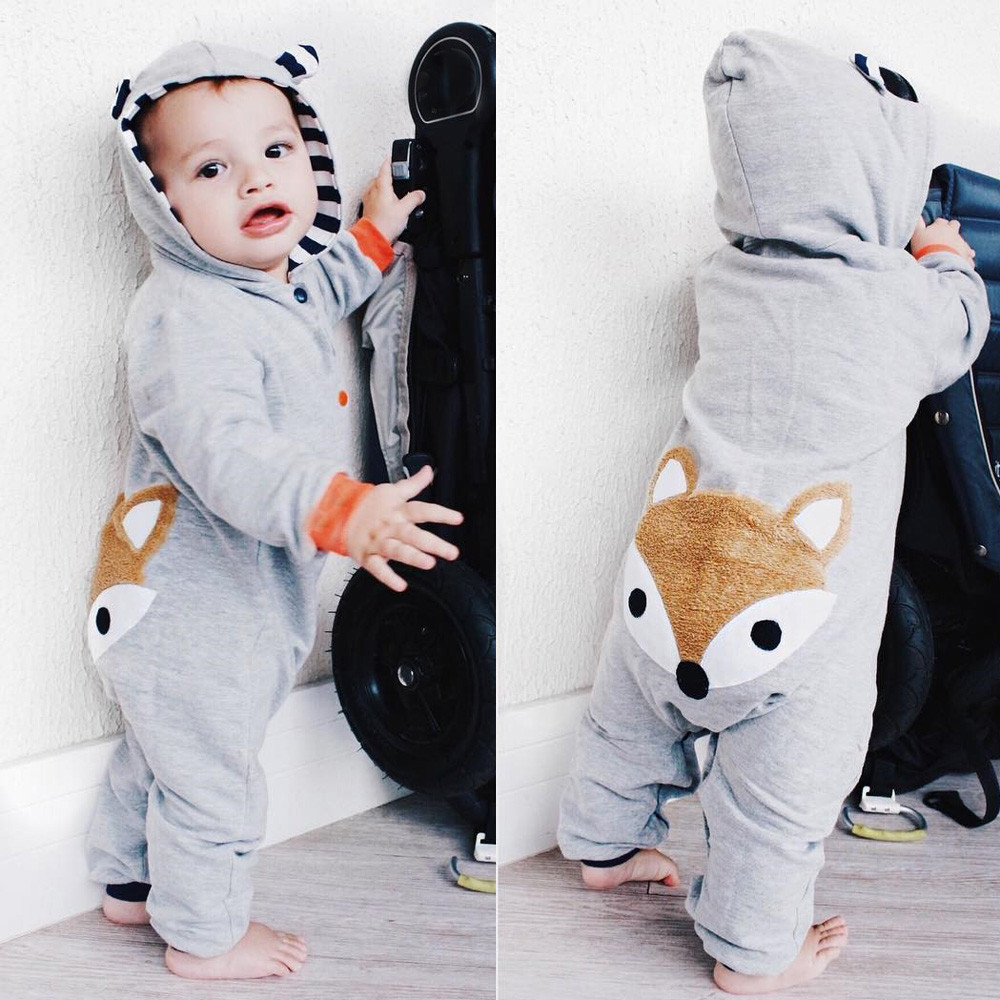 Newborn Kid Baby clothes Stripe animal lovely Fox print  Boys Girls Clothes Hoodie Romper  Jumpsuit Outfits Kids Clothes Boys puseky 2017 infant romper baby boys girls jumpsuit newborn bebe clothing hooded toddler baby clothes cute panda romper costumes