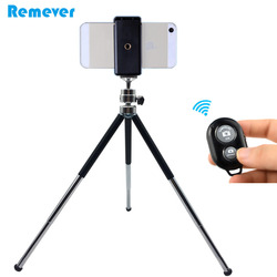 Metal Mini Tripod With Holder Bluetooth Remote For Iphone Xiaomi Samsung Android Mobile Phones Tripod For Gopro DV SLR Cameras
