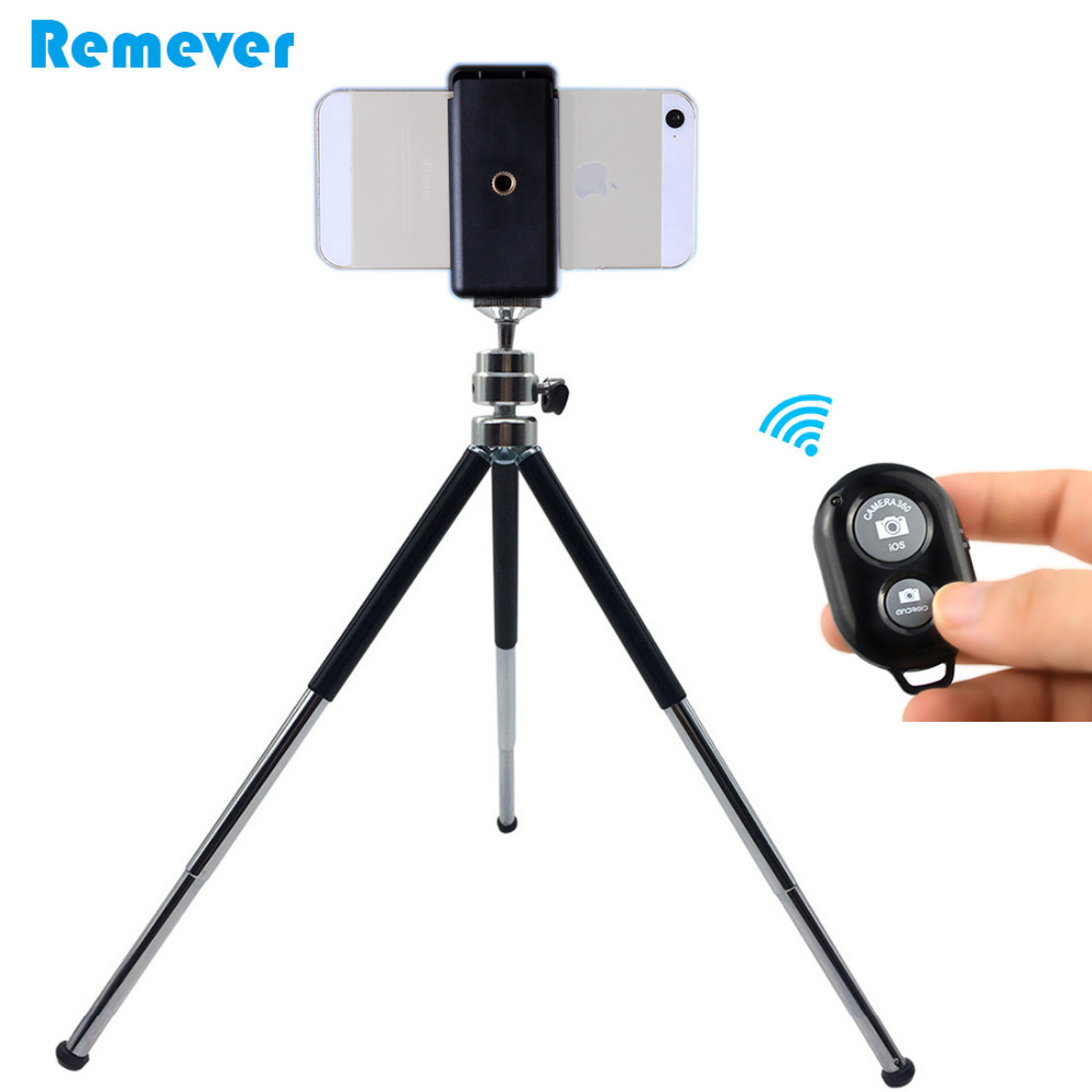 Metal Mini Tripod With Phone Holder Bluetooth Remote For Iphone Xiaomi Samsung Android Phones Tripod For Gopro DV SLR Cameras