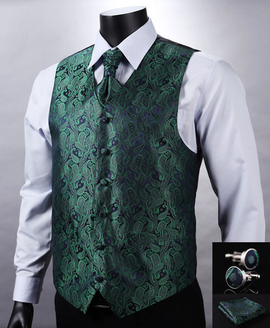 VE10 Green Navy Blue Paisley Top Design Wedding Men 100%Silk Waistcoat Vest Pocket Square Cufflinks Cravat Set for Suit Tuxedo