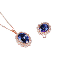 цена wholesale classic luxury rose gold color 925 sterling silver natural blue topaz necklace pendant ring jewelry set for female онлайн в 2017 году