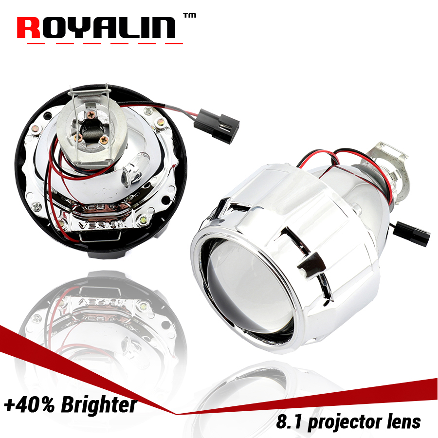 ROYALIN Newest Lenses 2.5'' Bi-xenon HID H1 Projector Lens LHD VER 8.1 for H1 H4 H7 Auto Lights Retrofit Car-styling Use H1 bulb car styling automobiles wst ccfl angel eyes halo hid bi xenon lens projector headlight retrofit h1 h4 h7 headlamp lenses lhd rhd