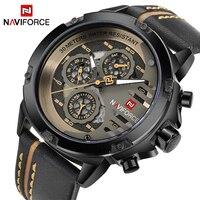 NAVIFORCE Top Brand Luxury Watches Men Waterproof 24 Hours Date Leather Skeleton Quartz Watch Man Sport