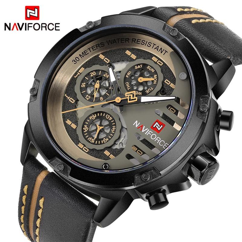 купить NAVIFORCE Top Brand Luxury Watches Men Waterproof 24 Hours Date Leather Skeleton Quartz Watch Man Sport Wristwatch Male Clock онлайн