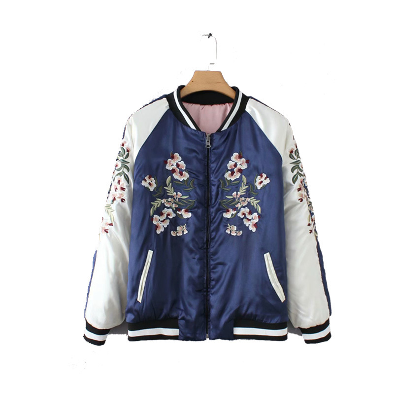 2019 Autumn and Winter Coat Women New Double-sided Quilted Baseball Uniform Embroidery Cotton Coat Female Parka(China)