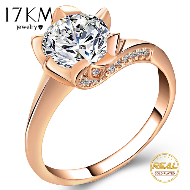 17KM Big Cubic Zirconia Wedding Engagement Rings For Women Rose Gold Silver Colo