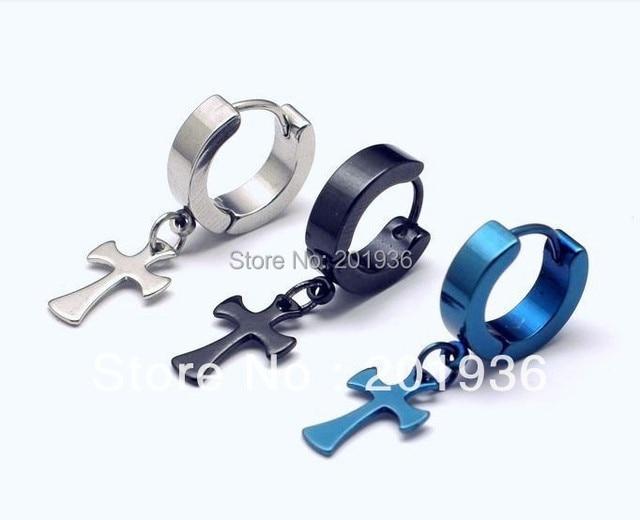 Free Shipping Fahion Cool Men S Metal Earring Hanging Cross 316l